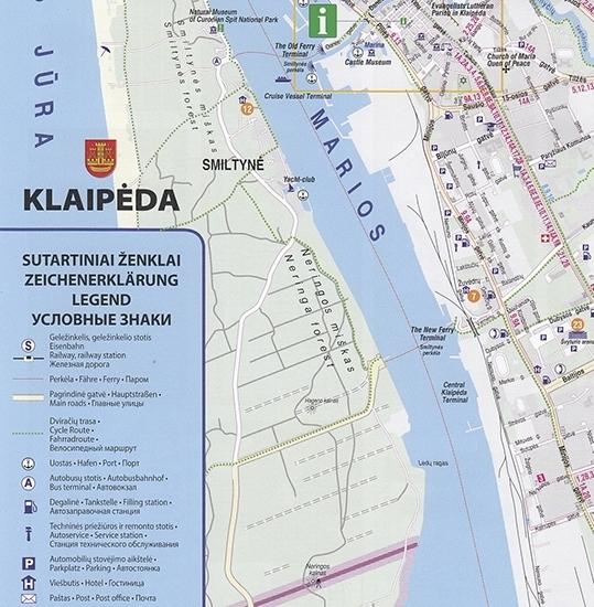Touristischer Stadtplan von Klaipėda/Memel (Litauen)